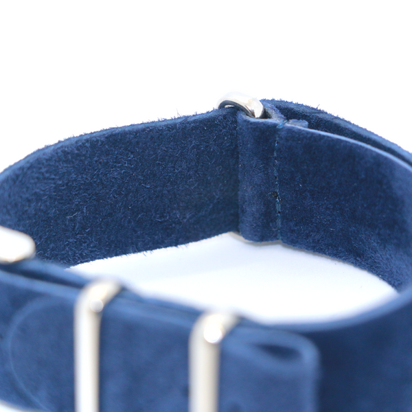 Suede nato watch strap dark blue