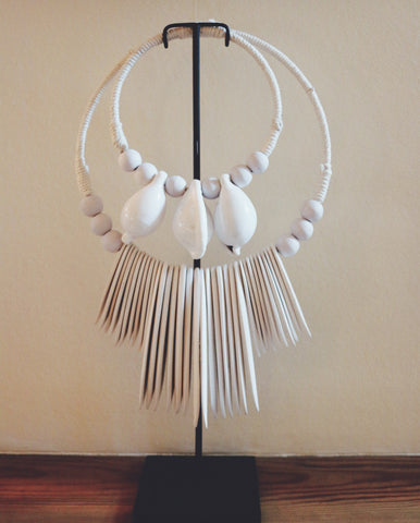 shell-necklace with wood pearls