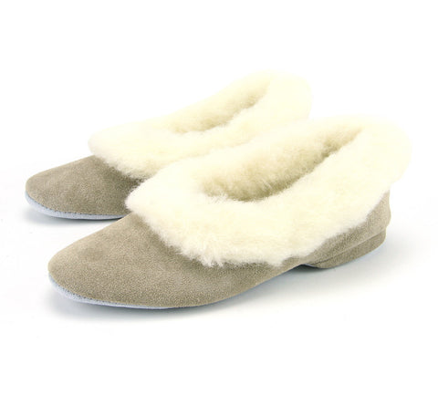 LADIES FULL COLLAR HEELED SLIPPER (Beige)