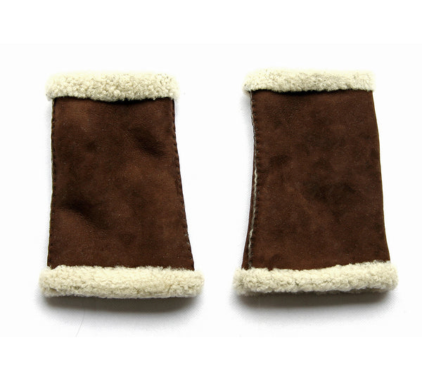 Lambskin Mittens Fingerless Dark Brown