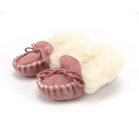 Pink Wool Lined Moccasins