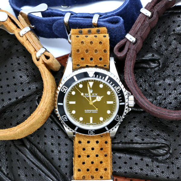 Suede nato watch strap perforated - color nut