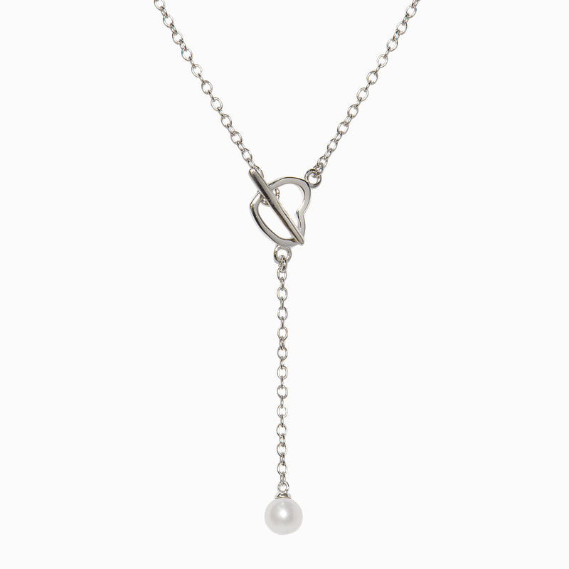 Heart and Pearl Lariat Necklace