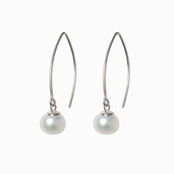 Silver Pearl Drop Thread Earrings