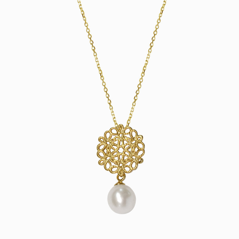 Golden Mandala Pearl Necklace