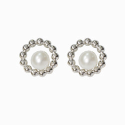 Round Floating Pearl Stud Earrings