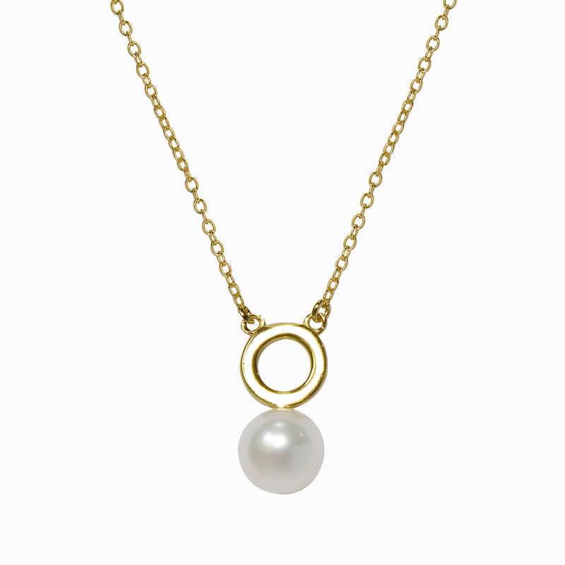 Full Circle Gold Pearl Necklace