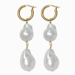 Golden Baroque Pearl Hoop Earrings