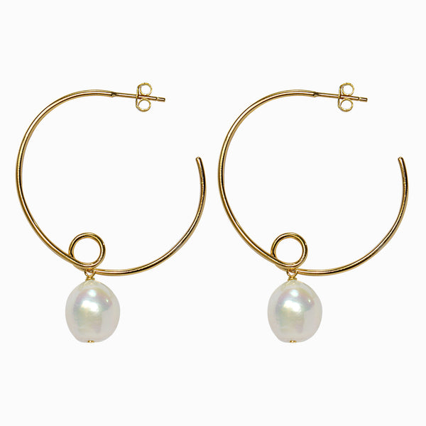 Gold Open Hoop with Pearl Drop