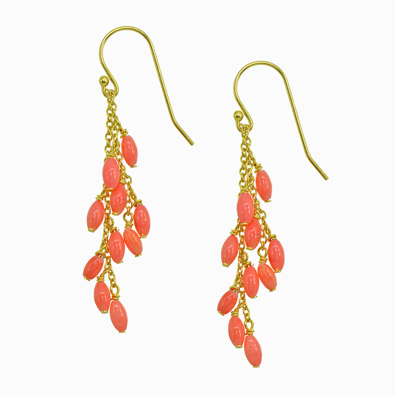 Be Bold Coral Cluster Drop Earrings