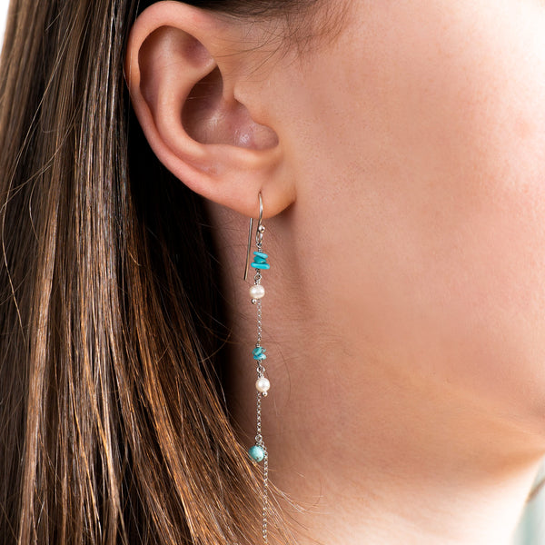 Silver Turquoise and Pearl Drop Earrings