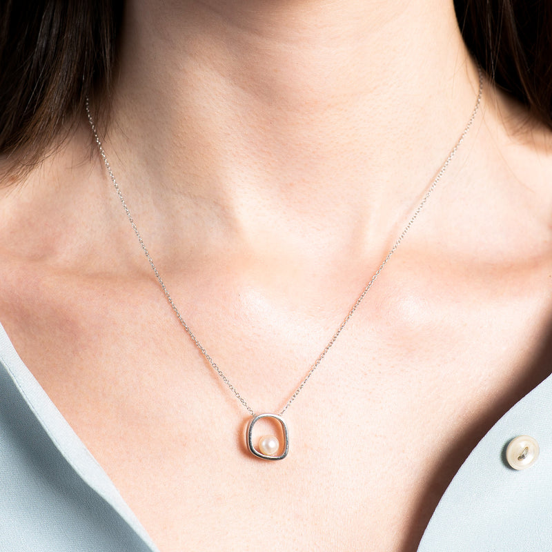 Square Floating Pearl Necklace