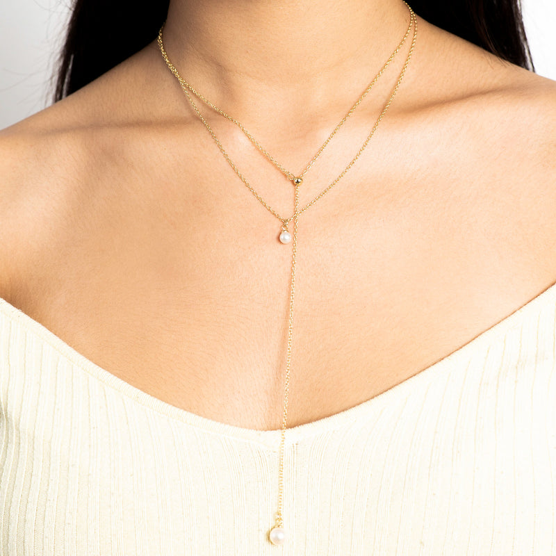 Stacked Golden Pearl Necklace