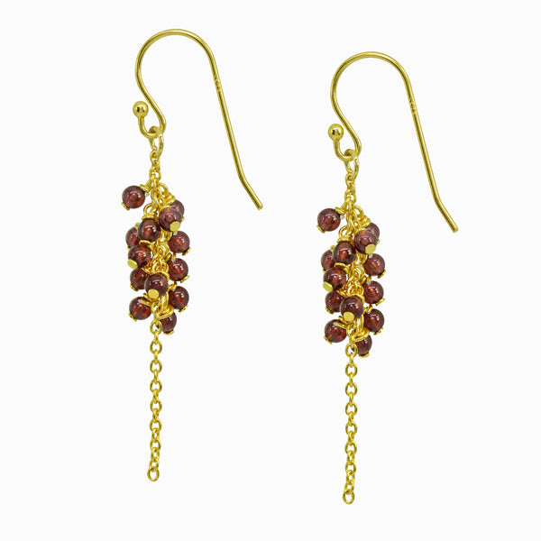 Cluster Garnet Drop Earrings