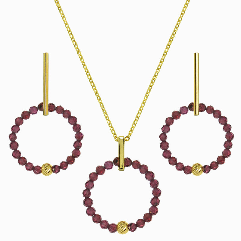 Garnet Wreath Hoop Set