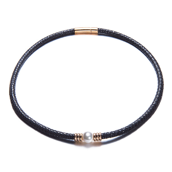 Black Leather Pearl Choker