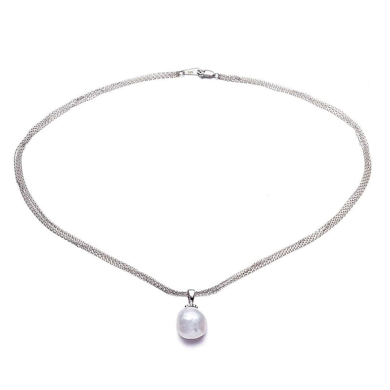 Silver Single Edison Pearl Necklace