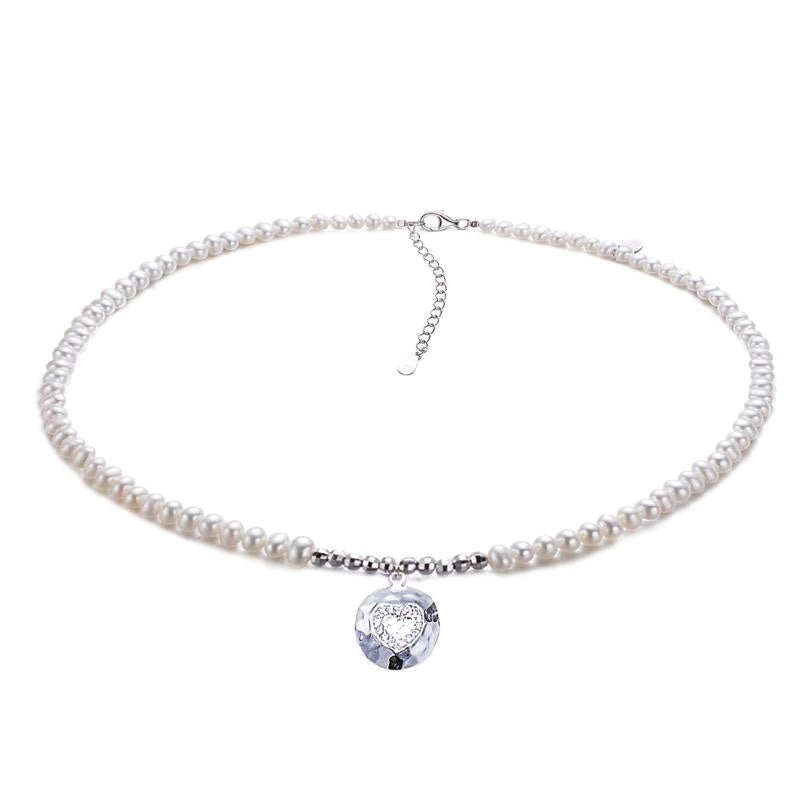 Silver Findings Round Pearl Choker