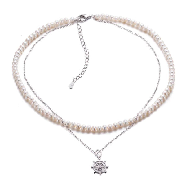 Sun Charm Stacked Pearl Necklace