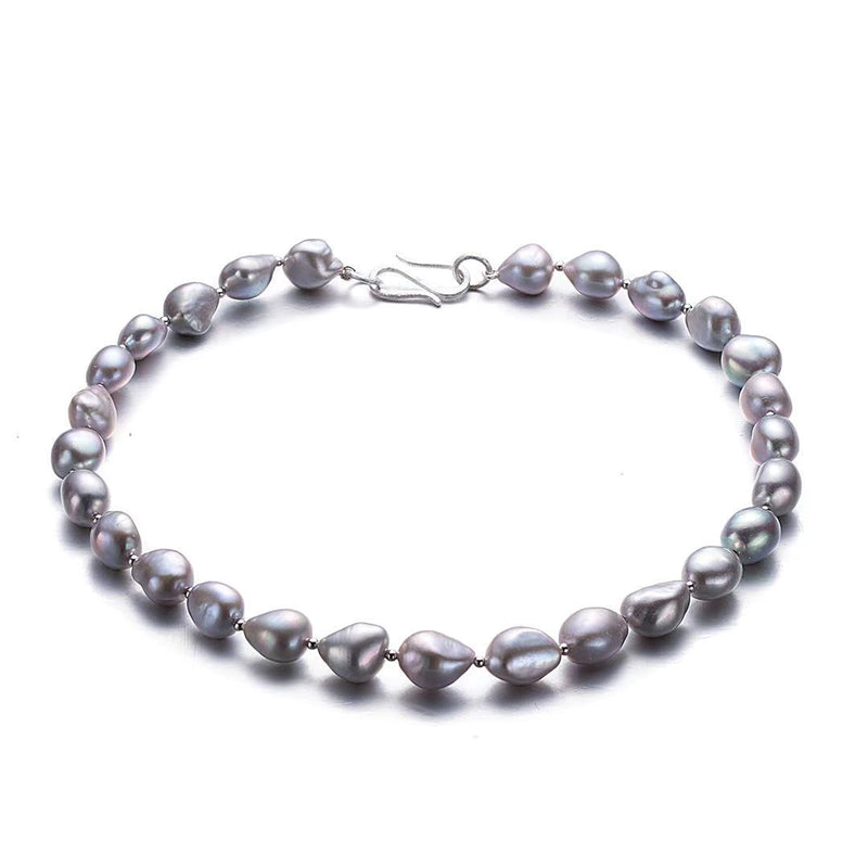 Silver and Grey Baroque Pearl Choker