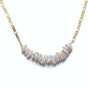 Gold Keshi Pearl Necklace with chain