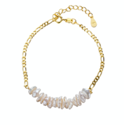 Gold Keshi Pearl Bracelet with chain