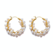 Round Mini Pearl with Hoops Earrings