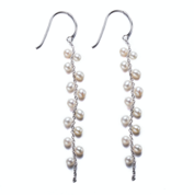 Small Silver Pearl Drop Earrings