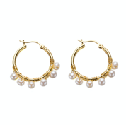 Small Gold Hoop Round Pearl Earrings