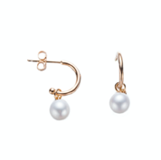 Gold Mini Open Hoop Pearl Earrings