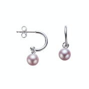 Silver Mini Pink Pearl Earrings