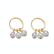 Gold Tiny Hoop Round Pearl Earrings