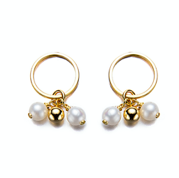 Gold Tiny Hoop Round Pearl Earrings with Charm