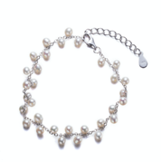 Adjustable Silver Pearl Bracelet