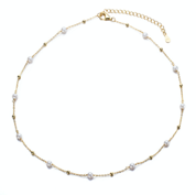 Gold Pearl Necklace with Small Gold Beads