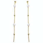 Dangling Drop Pearl Earrings