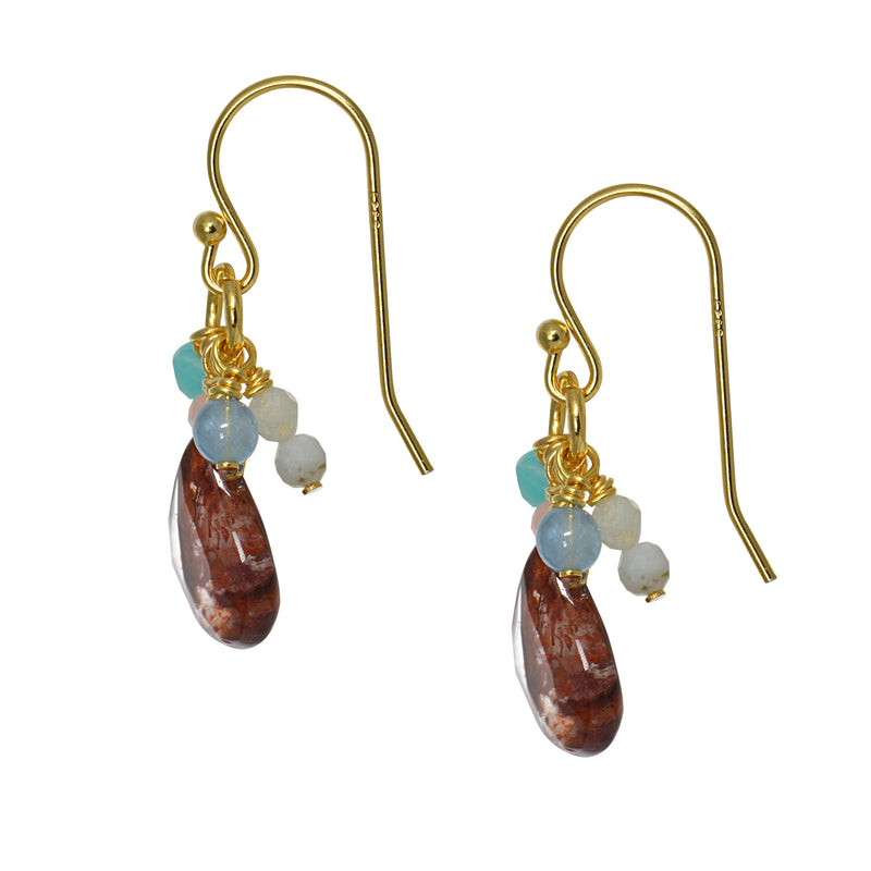 Dancing Red Quartz and Moonstone Drop Earrings