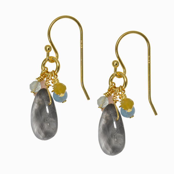 Dancing Smoky Quartz and Moonstone Drop Earrings