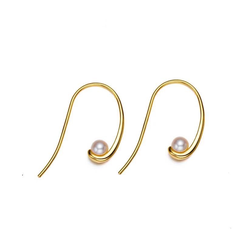 Golden Stylish Swirl Pearl Earrings