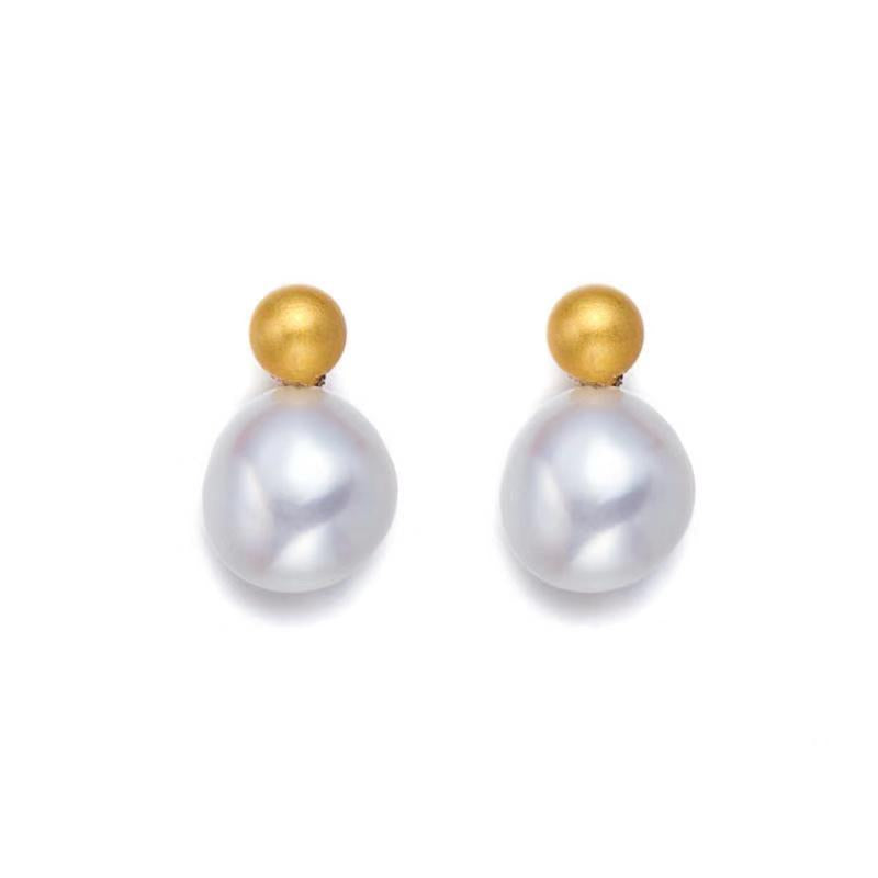 Roman Coin Pearl Earrings