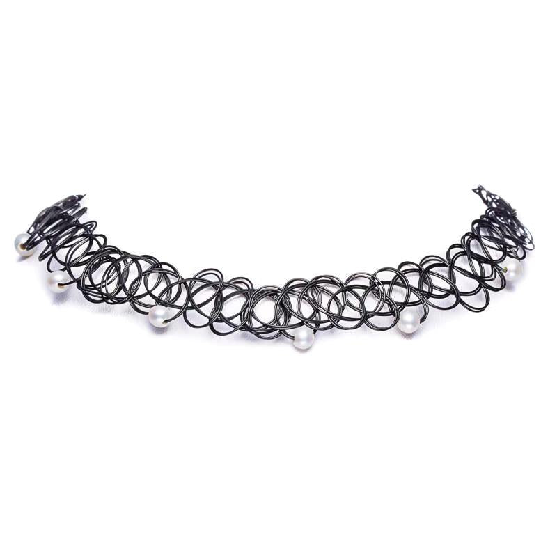 Black Fishing Wire Round Pearl Choker