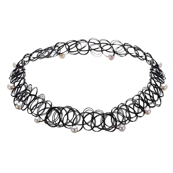 Black Wire Round Pearl Choker