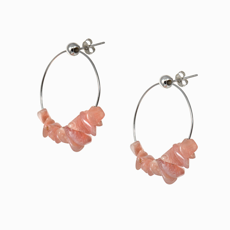 Rhodochrosite Hoop Earrings