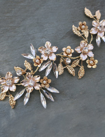 """FAWN"" - Bridal Mixed Metal Hair Vine"