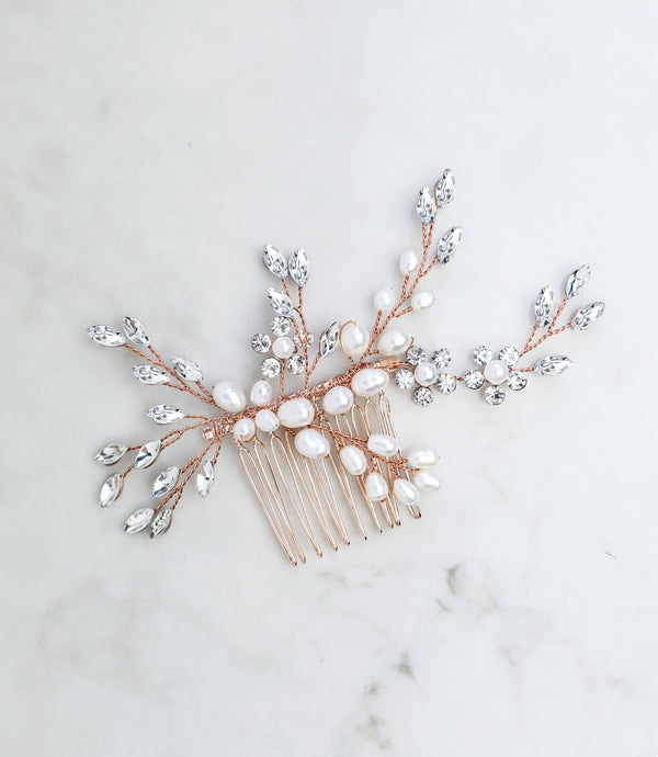 wedding hair comb rose gold
