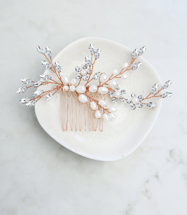 rose gold wedding hair comb