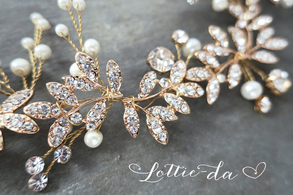 'LYRA' Leaf Bridal Hair Vine