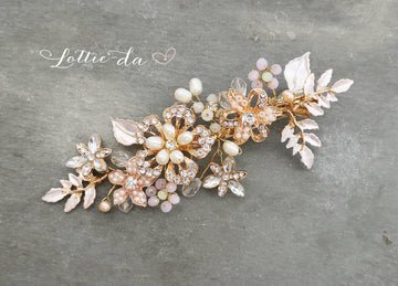 'MARION' Hair Comb with Leaves Pink Flowers