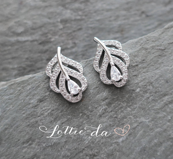 'AYLA' Art Deco Style Leaf Earrings