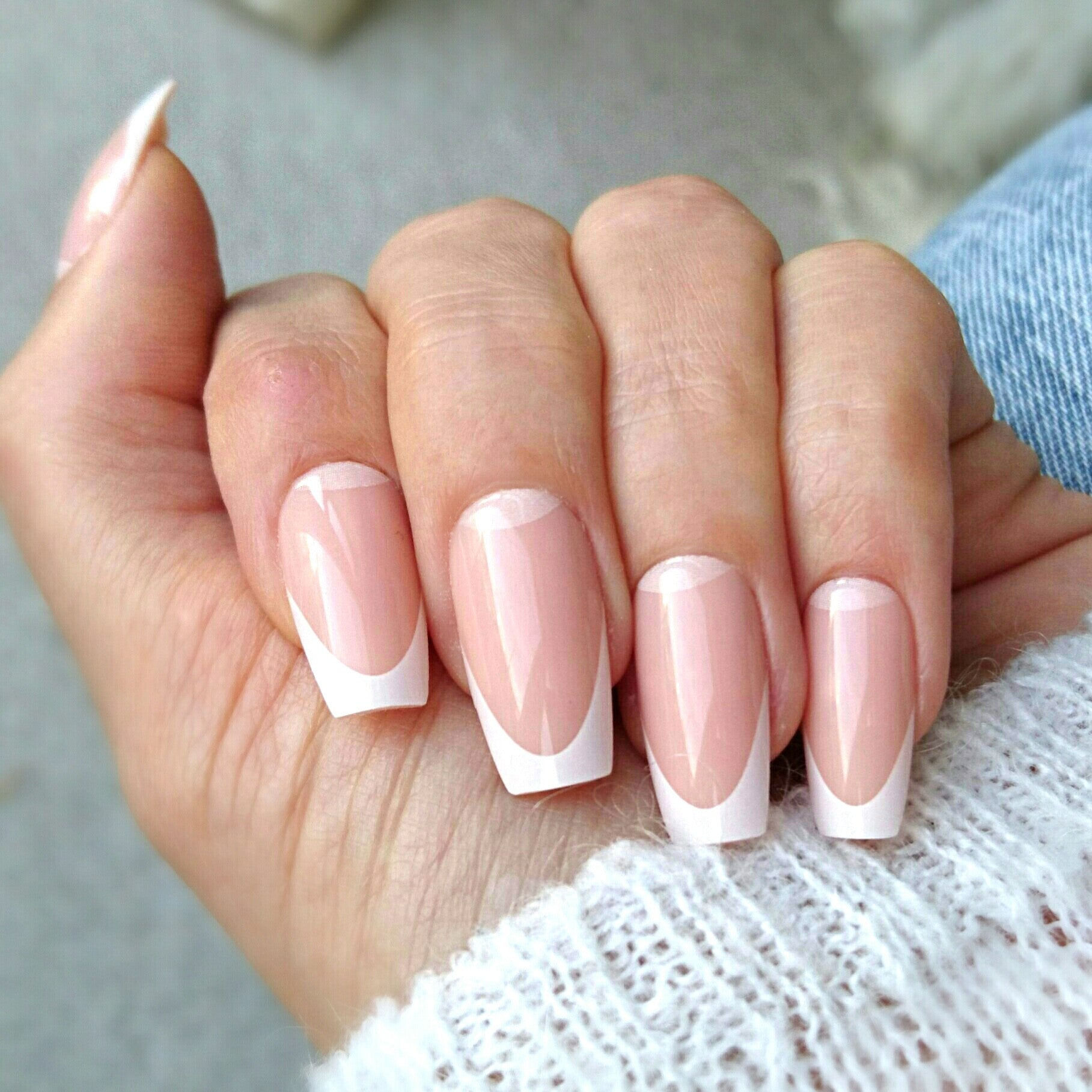 Old Fashioned French Tip Coffin Nails Crest - Nail Art Ideas ...